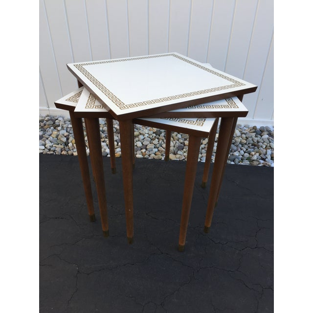 White Zinnia Nesting Tables Set Of 3: Mid-Century Artex White Laminate Greek Key Nesting Tables