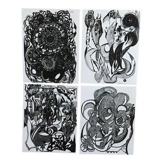 Prints of Original Pen & Ink Drawings - Set of 4