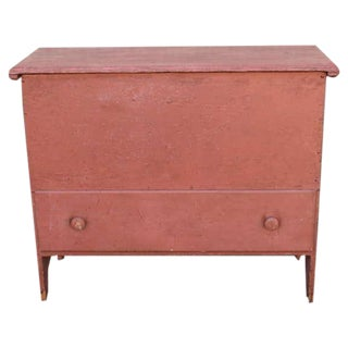 Early 19th Century Original Salmon Painted Tall Blanket Chest