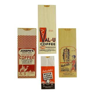 Circa 1940s Vintage Coffee Bags - Set of 4