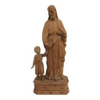 Antique Carved Wood Religious Sculpture
