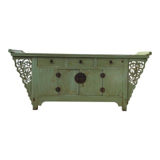 Chinese Turquoise Lacquered Sideboard