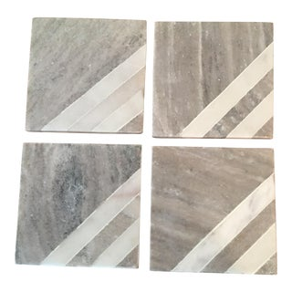 Gray Geometric Marble Coasters - Set of 4