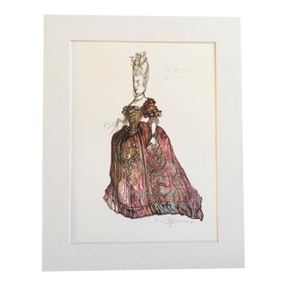 "Vintage Stratford Festival Design Folio, Richard Brinsley Sheridan's ""The School for Scandal"" Costume Print"