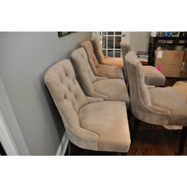 Velvet Upholstered Dining Chairs - Set of 6 - Image 2 of 8