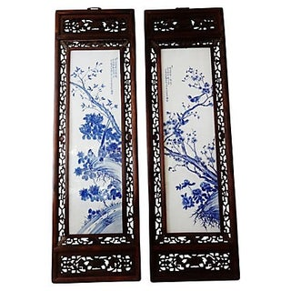 Large Porcelain Wood Panels - Pair