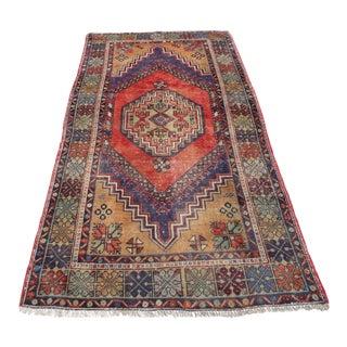 Vintage Tribal Turkish Rug - 3′9″ × 7′5″