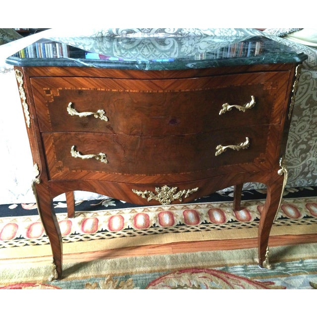 vintage petite louis xv marble top commode chairish. Black Bedroom Furniture Sets. Home Design Ideas