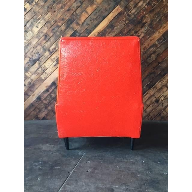 Vibrant Mid Century Orange Vinyl Lounge Chair - Image 6 of 7