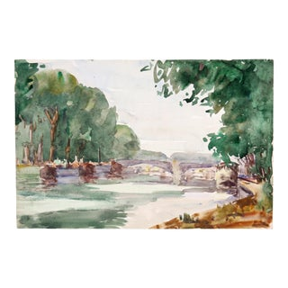 River in France, C. 1930 by Raoul Monory, Double Sided