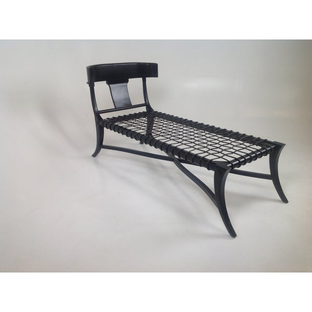 Espresso klismos style chaise chairish for Chaise coffre