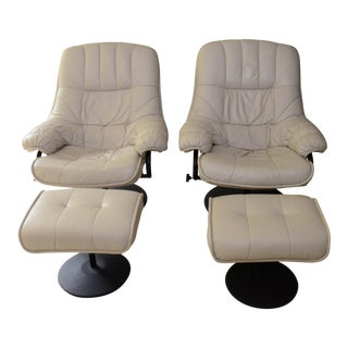 Vintage Leather Reclining Chairs & Ottomans - A Pair