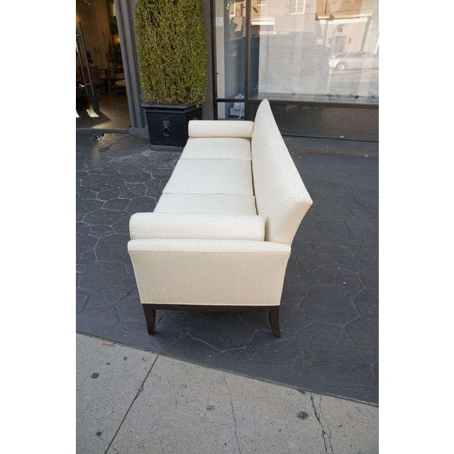 Mid Century Sofa in Imported Quilted Cream Silk - Image 4 of 10