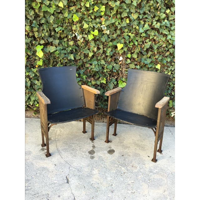 Black & Gold Theatre Chairs - A Pair - Image 2 of 6