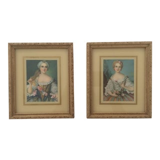 1940's Vintage Miniature Florentine Framed Portrait Prints Made in Italy - Pair