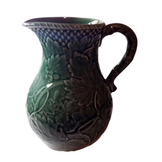 Green Handmade Majolica Pitcher