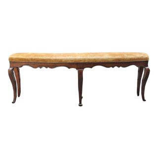 Pair of 18th and 19th C Italian Curved Walnut Velvet Benches