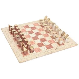 Italian Vintage Travertine and Brass Modernist Chess Set