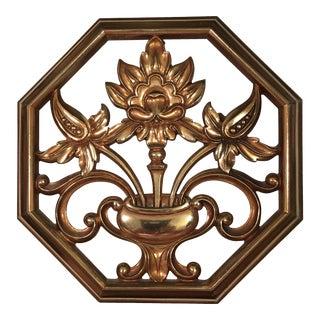 Vintage Syroco Wood Gold Resin Botanical Plaque
