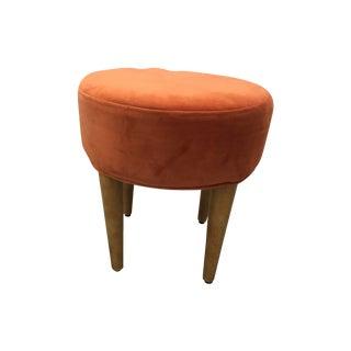 Midcentury Round Orange Velvet Ottoman - Pair