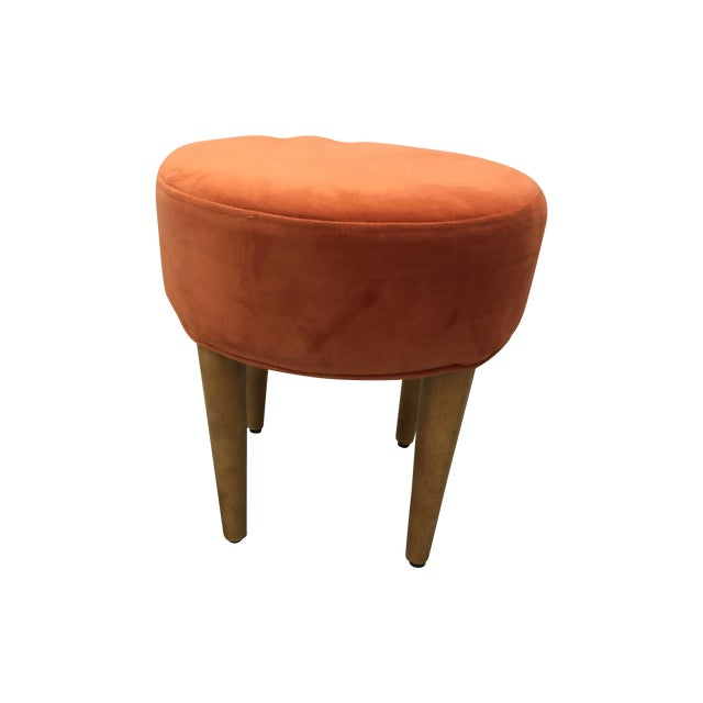 Midcentury Round Orange Velvet Ottoman Pair Chairish