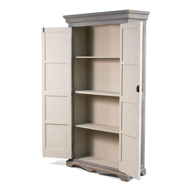 Sarreid Ltd Rustic White & Gray Painted Tall Cabinet - Image 3 of 4