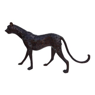 Solid Bronze Leopard Decorative Floor Sculpture / Statue .