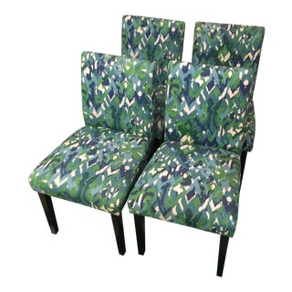 Teal Ikat Design Parsons Fabric Chairs - Set of 4