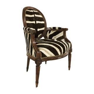 Louis XVI Style Walnut Bergere in Zebra Hide