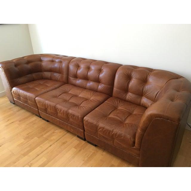 Image of Ken Fulk Cognac Leather Sofa