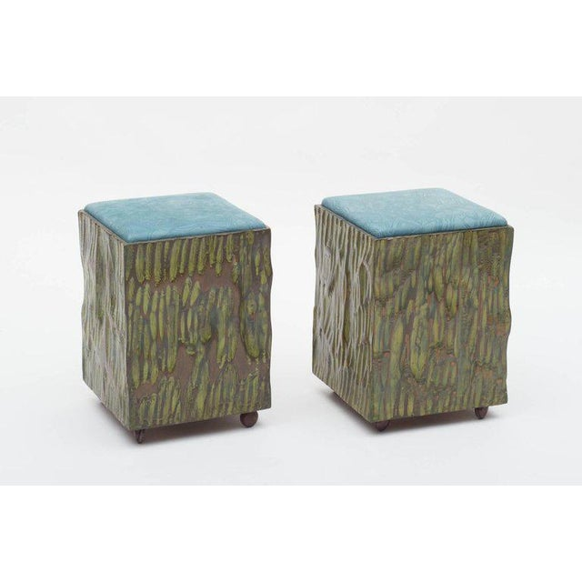Phillip Lloyd Powell Painted Hand-carved Stools With Abstract Patterned Textile - Image 3 of 7