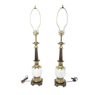 Stiffel Hollywood Regency Ostrich Egg Lamps- A Pair