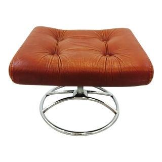 Vintage Brown Leather & Chrome Ekornes Ottoman