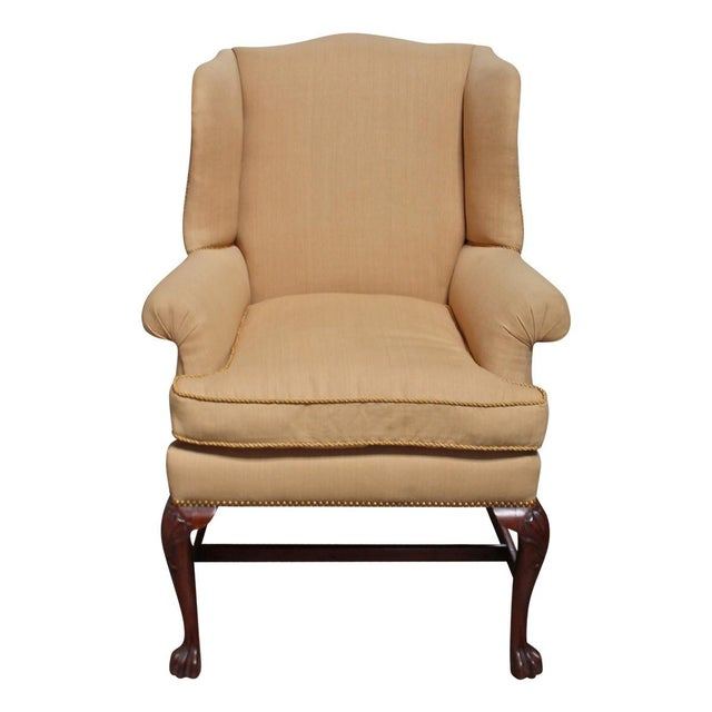 Vintage Linen Wingback Chair - Image 1 of 9