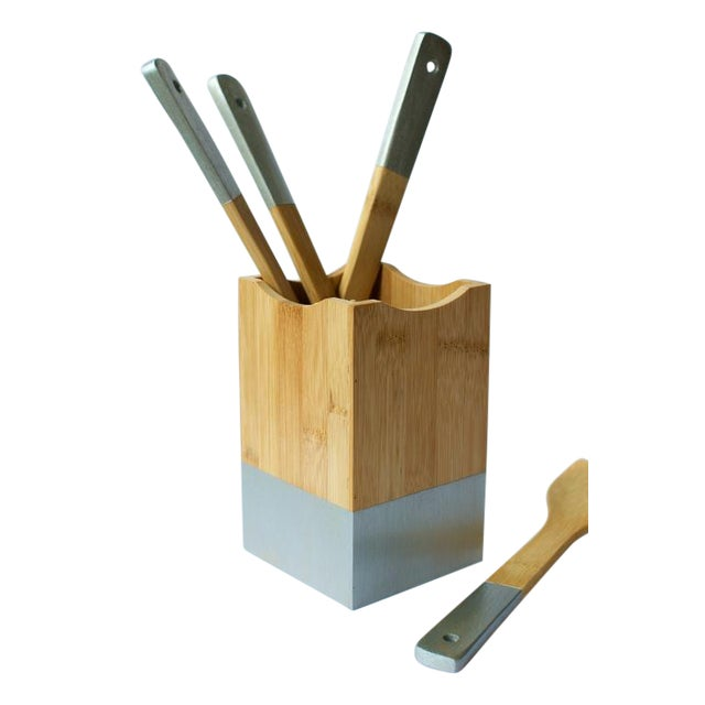 Silver Utensil Set and Holder - Image 1 of 5