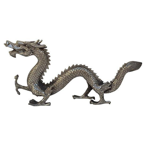 Silver Mid Century Metal Dragon Statue - Image 1 of 7