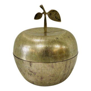 Mid-Century Large Brass Apple Box