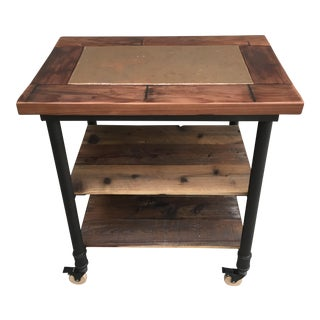Reclaimed Wood With Copper Top Inlay Kitchen Cart