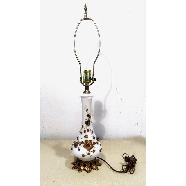 Image of Vintage Hollywood Regency Floral Gilded Tole Lamp