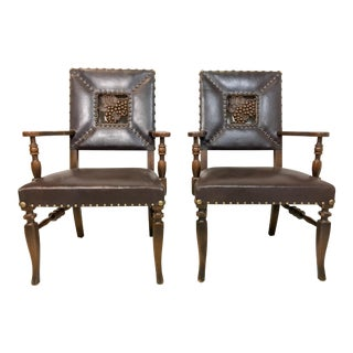 1950s Vintage Leather Arm Chairs - a Pair
