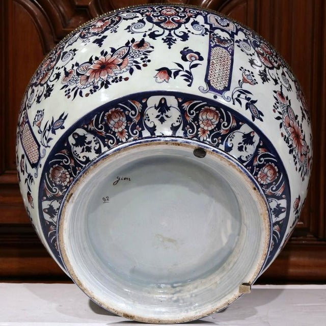 19th Century French Hand-Painted Faience Cachepot - Image 9 of 10