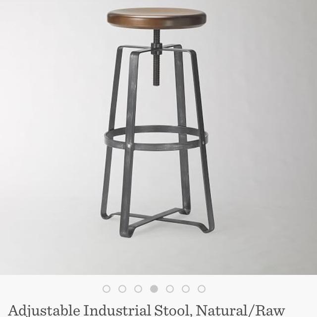 West Elm Adjustable Bar Stools - A Pair - Image 5 of 7