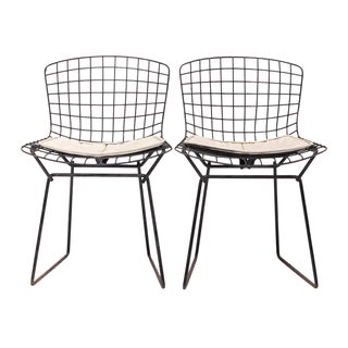 Knoll Bertoia Child Size Chairs Black/Ivory - Pair