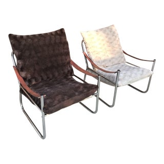 Mid-Century Modern Chrome and Leather Straps Safari Style Lounge Chairs - a Pair