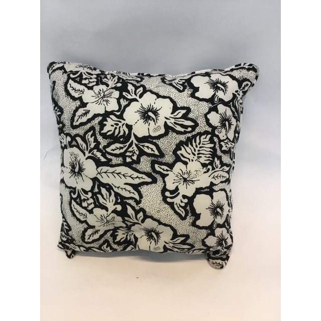 Black and White Floral Cotton Balinese Pillow - Image 2 of 3