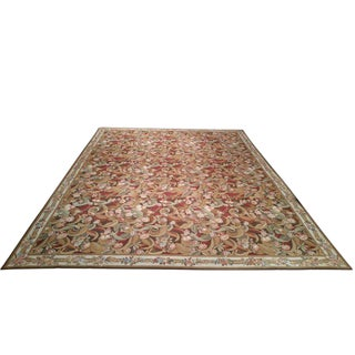 French Needlepoint Handmade Knotted Rug - 11′5″ × 14′9″