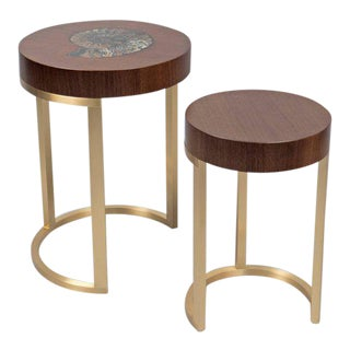 Walnut & Brass Nesting Tables - A Pair