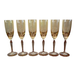 Mid-Century Golden Iridescent Flutes - Set of 6