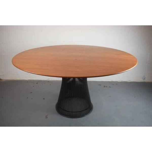 Warren Platner for Knoll Bronze and Teak Table - Image 2 of 8