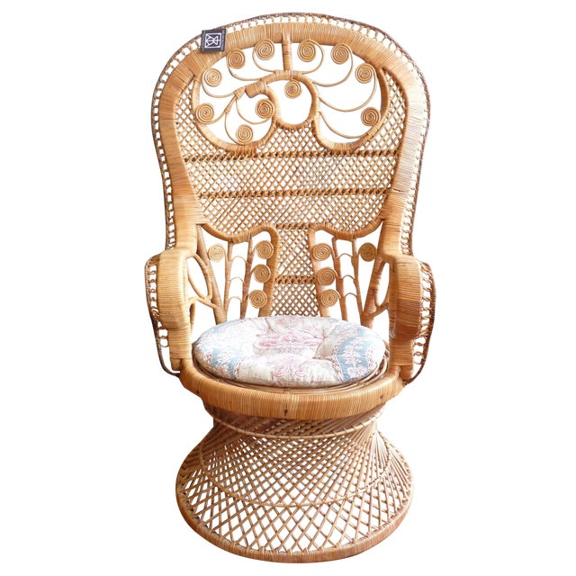 Curly Wicker Throne Chair - Image 1 of 9